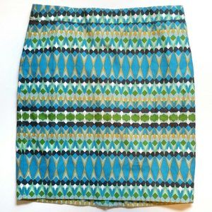 J. Crew The Pencil Skirt Geometric Cotton Skirt